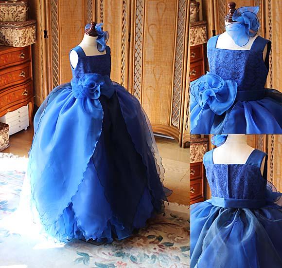 花びらデザインのベルラインスカート ピアノの発表会ドレス ダークブルー