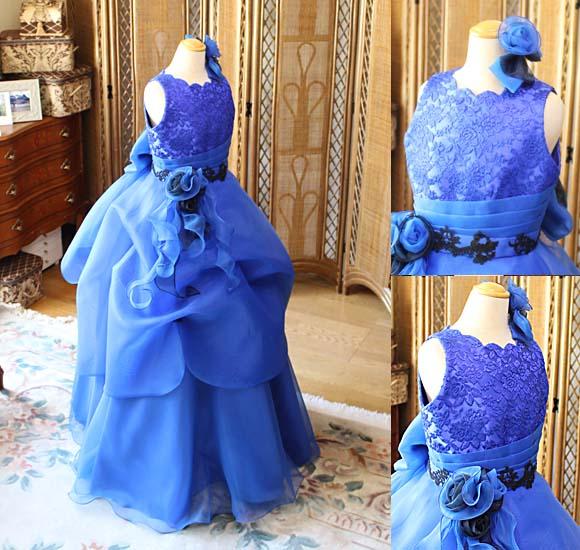 コンクールドレス ブルーのAラインドレス 小学生用ドレス