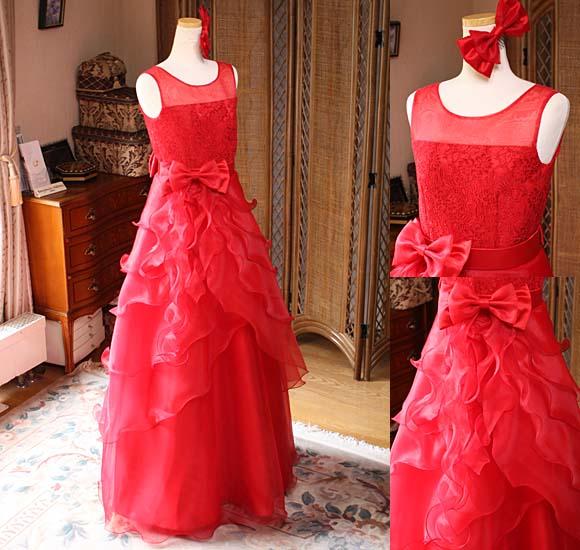 レッドのティアードデザイン ロングドレス
