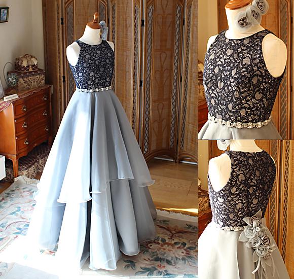 ディテールと細工が際立つロングドレス