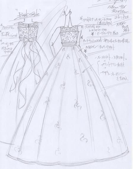 静岡県のお客様に制作したオーダーメイドドレスのデザイン画