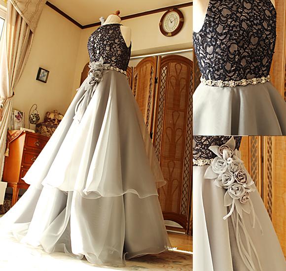 グレーカラーのジュニアドレス オーダーメイド