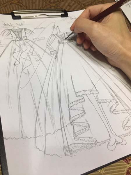 小学生が着る卒業式ドレスのデザイン画