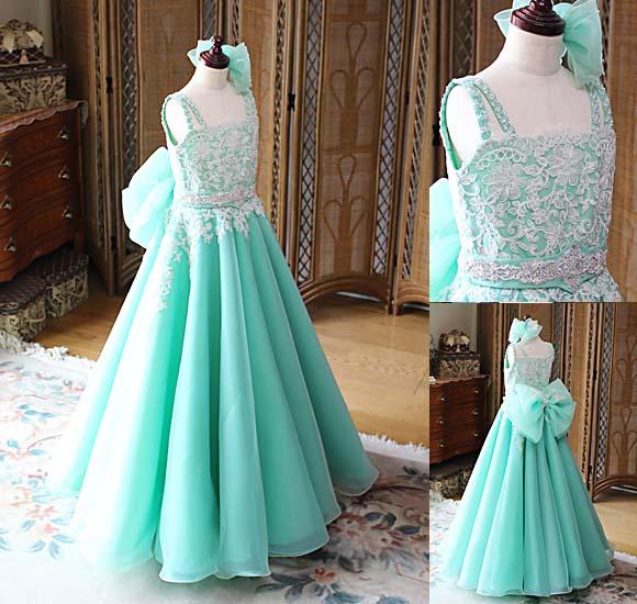 エメラルドグリーン ジュニアドレス