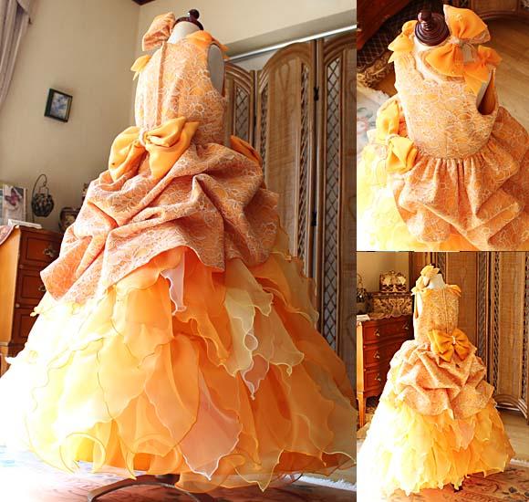 子供用オーダーメイドドレス オレンジ