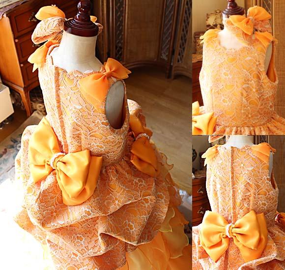 キュートなリボンデザイン 花びらモチーフの子供用ドレス