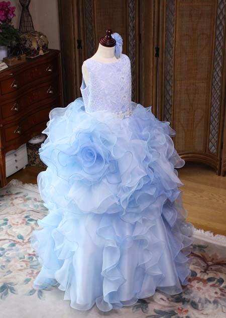 お花デザインのブルーのジュニアドレス