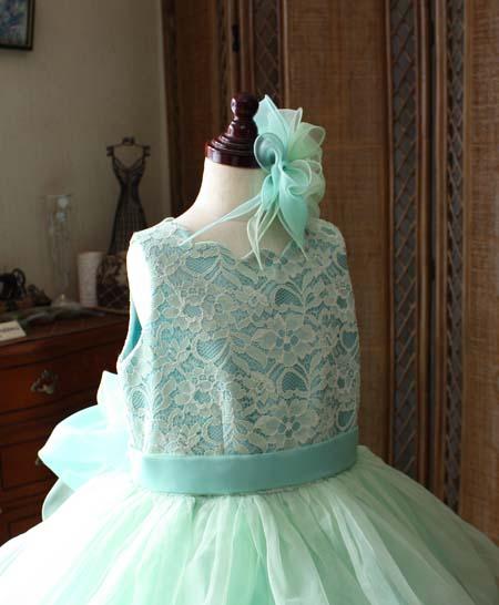 レースを施したトップスデザイン 小学生用ドレス