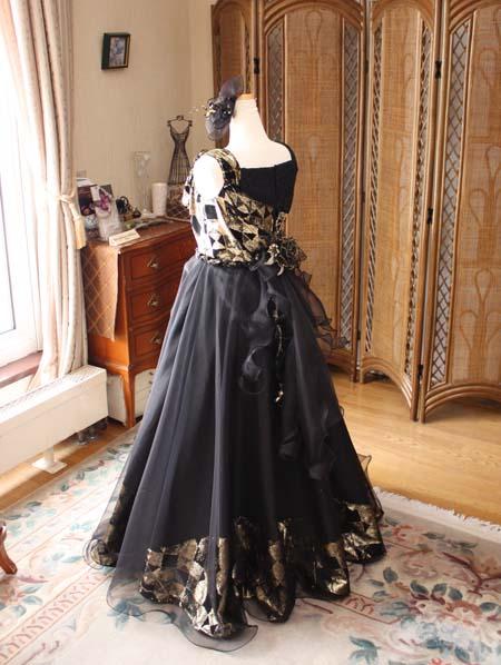 シルクオーガンジーのジュニアドレス シルエット