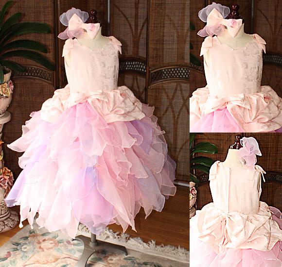 サーモンピンクのリーフ型スカート キュートな子供用ドレス