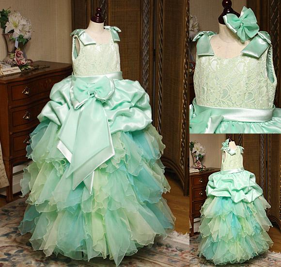 リーフスカートドレス ジュニアドレス グリーン