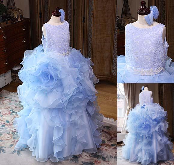 大輪のお花 ジュニアドレス ライトブルー