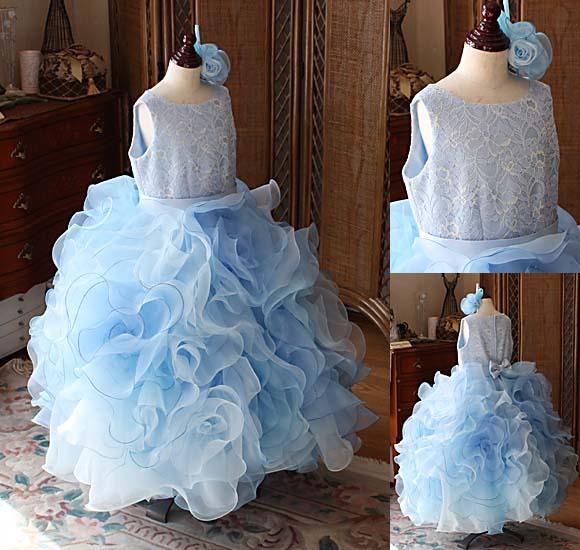お花デザインのスカート ピアノの発表会ドレス ブルー