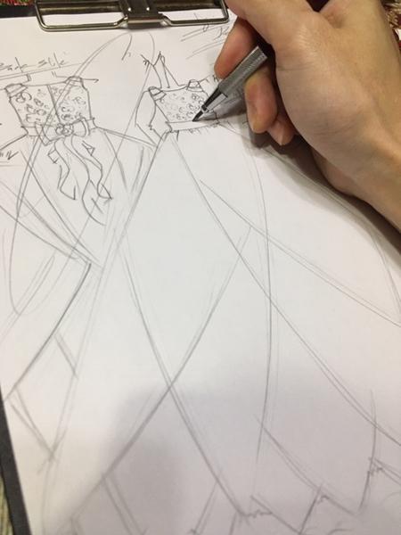ピアノのコンチェルトドレス オーダー デザイン画