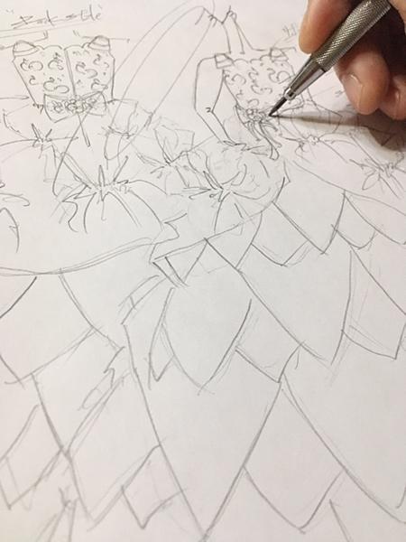 ドレスののデザインを構成 デザイン画の立案