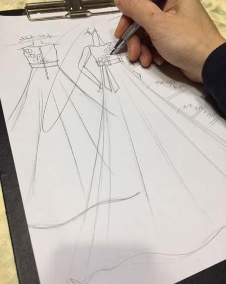 ヴァイオリンの発表会ドレス デザイン画
