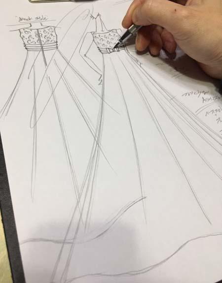 決定デザイン画 ヴァイオリンのお客様に作るドレスのデザイン