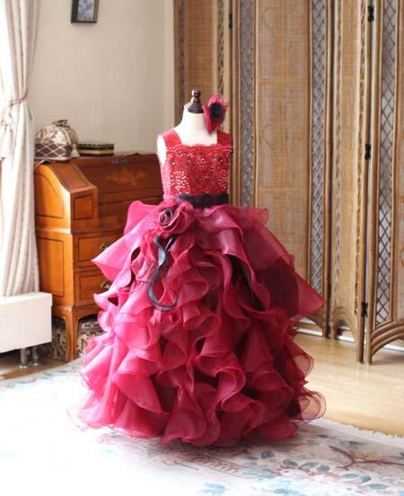 ピアノのコンサートドレス ワインレッド 奈良県 オーダーメイド