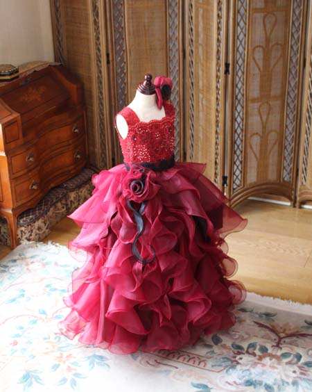 ピアノのコンサートドレス ワインレッド