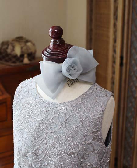 リボンとコサージュの髪飾り へッドドレス