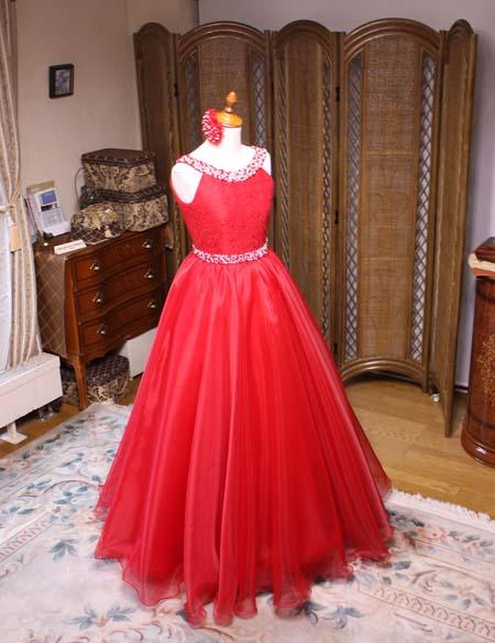 ジュニアドレス ピアニスト用 レッドドレス