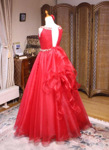 ピアニストドレス バックスタイル ドレープリボン