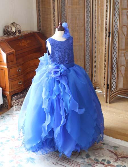 ブルー 小学生ドレス 兵庫県のお客様に製作
