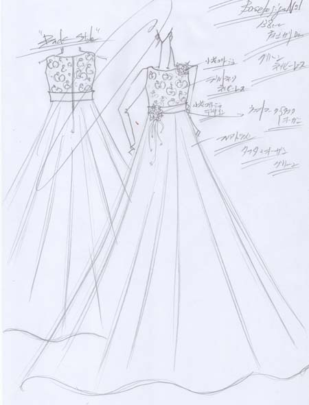 ドレスのデザイン画と構成