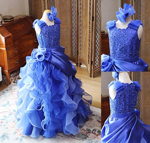 ブルーのピアノのコンサートドレス オーダーメイド 販売