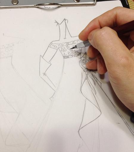 ドレスの構成とデザイン画