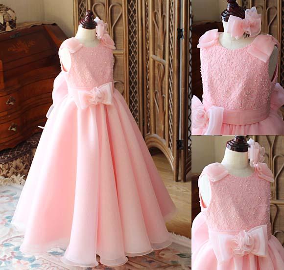 サーモンオレンジカラー ジュニアドレス