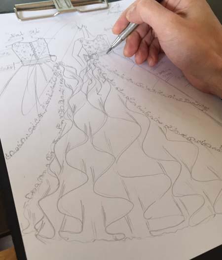 ピアノの発表会ドレス デザイン画 小学6年生