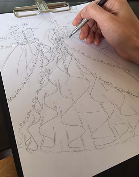 ドレスのデザイン画と構成 ピアノの発表会
