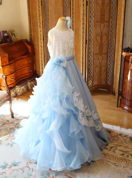 ブルーのミックスカラードレス  ピアノの発表会ドレス