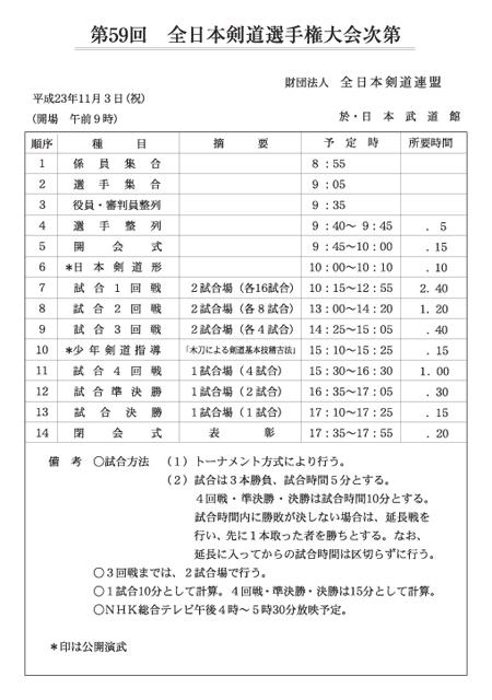 第59回全日本剣道選手権大会次第