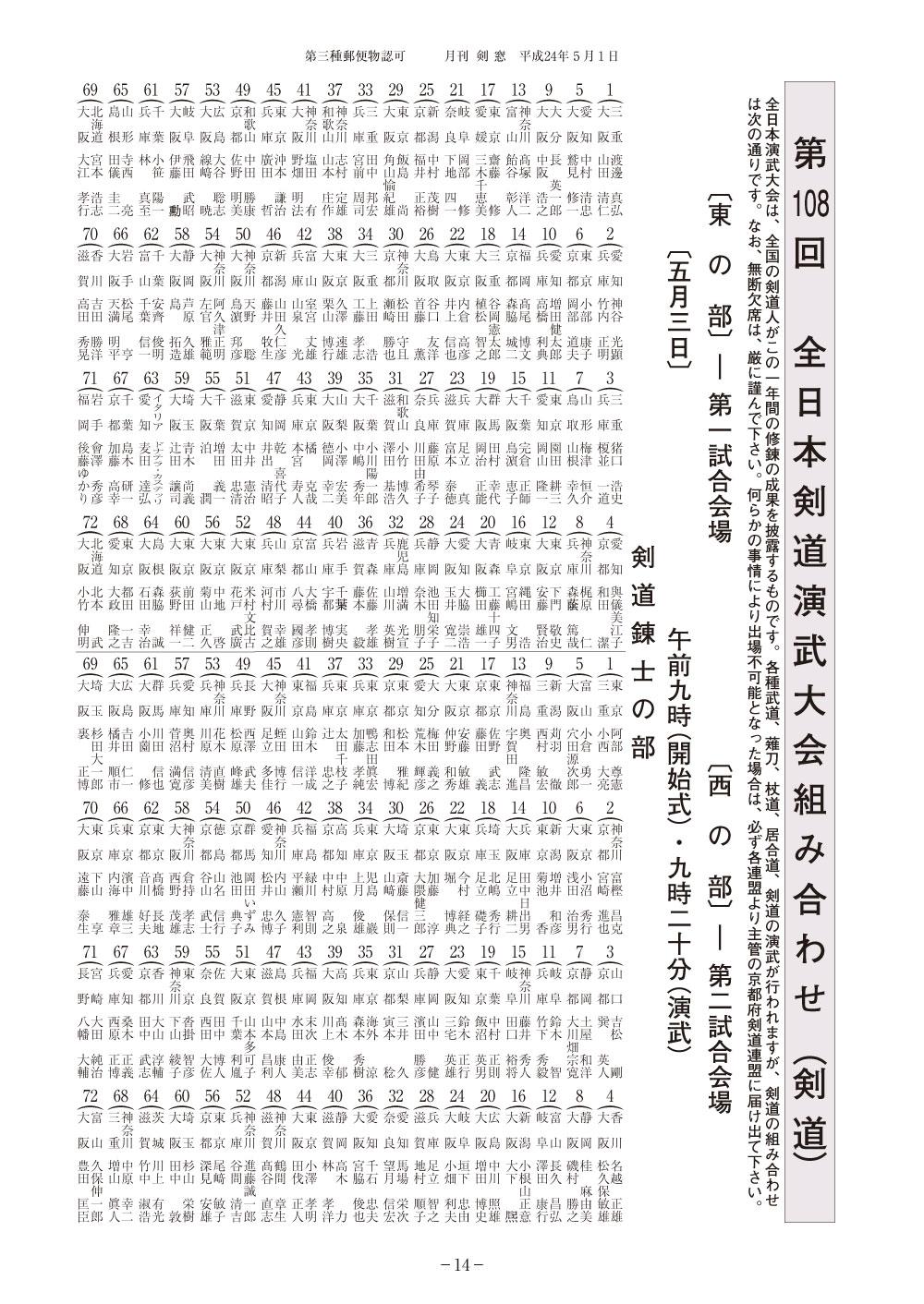 第108回全日本剣道演武大会(剣道)組合せ_001