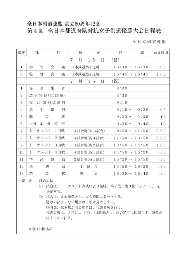 第4回全日本都道府県対抗女子剣道優勝大会日程表