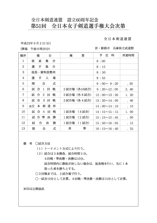 第51回全日本女子剣道選手権大会次第