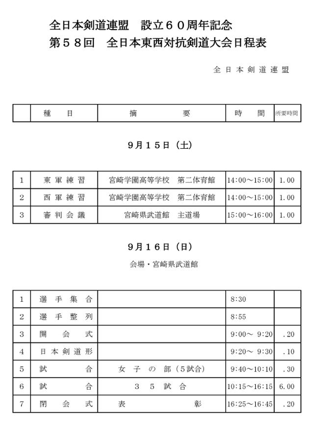 第58回全日本東西対抗剣道大会日程表