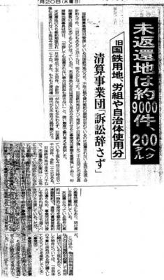 清算事業団の立ち退き請求の新聞記事