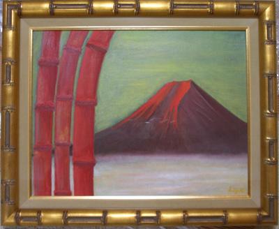 赤富士と赤竹
