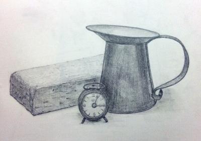 時計と花瓶そしてブロック