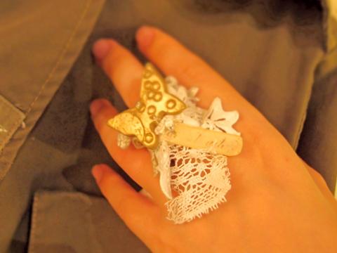 bao et bao バオエバオ butterfly ring アンティークレースと蝶のリング b〈一点もの〉