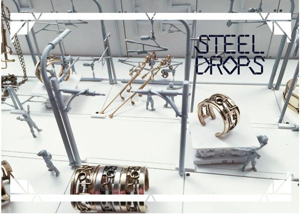 スチームパンクなアクセサリーブランド、steeldrops スチールドロップス の新作シリーズその2! メカニックなリング、バングル、ピアス・イヤリングをご紹介いたし