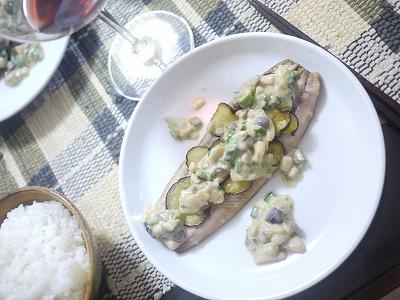 秋刀魚のグリル キノコのマヨネーズソース
