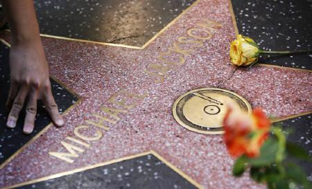 ハリウッドのウォーク・オブ・フェームに刻まれたジャクソンの星型