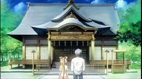アニメ2話の神社