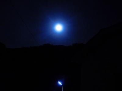 満月と街路灯