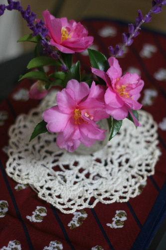 ドイリーとお花