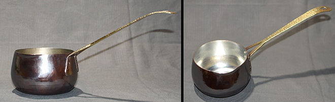 5039片手鍋深3真鍮手